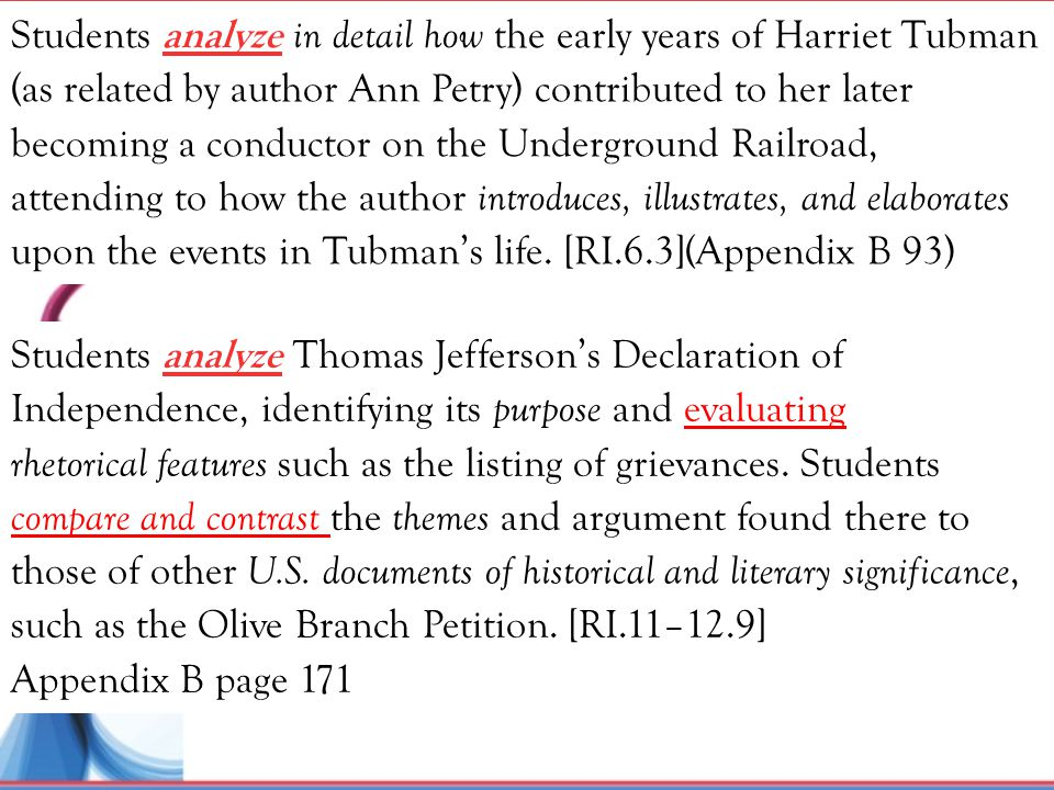 Students analyze in detail how the early years of Harriet Tubman (as related by author Ann Petry) contributed to her later becoming a conductor on the Underground Railroad, attending to how the author introduces, illustrates, and elaborates upon the events in Tubman's life. [RI.6.3](Appendix B 93)